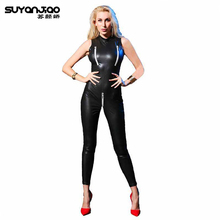 Buy Hot Sexy Stretchy Open Crotch Bust Catsuit Patent Leather Crotchless Catsuit Clubwear Bodysuits Jumpsuit Erotic Costumes
