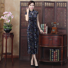 2017 Luxury Manual Nail Bead Embroidery Velvet Mother Cheongsam Chinese Oriental Dresses Long Qipao Women Qi Pao Dress