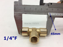 "free shipping Copper pipe fitting G1/4"" female tee brass Pipe fitting, plumbing brass fittings, copper three contact"
