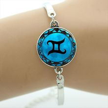 Cancer Pisces bracelet 12 zodiac bracelet charm women jewelry Glass cabochon dome art picture charm birthday gift Fashion