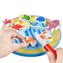 MamimamiHome Baby Wooden Food Toy Magnetic Fun Fishing Seafood Teaching Aids Toys For Children Kid's Kitchen Toys