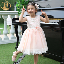 Nimble New Summer Princess Girls Dress Lace Appliques Girls Dresses for Party and Wedding