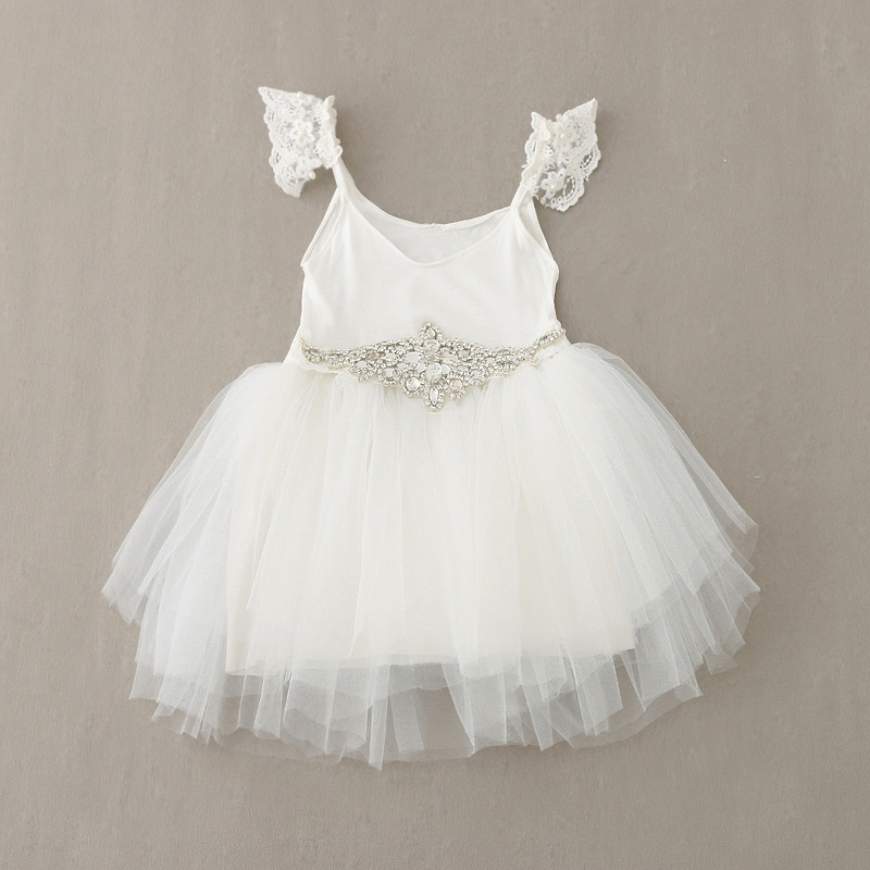 Girl Summer Dress 2017 Party Princess Fashion Dresses Pearl Lace white Diamond Belt Party Dresses Kids Princess Clothes<br>