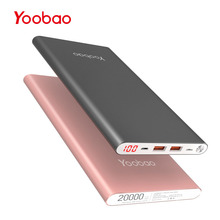 Yoobao A2 20000mAh Universal Power Bank Dual USB Output/Input Ultra Slim 14.5mm Li-Polymer Mobile Portable Battery Charger(China)