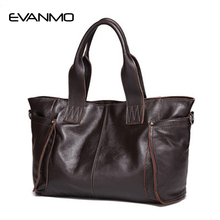 2017 Ladies Large Capacity HandBags Popular Big Tote Bags Women Top Quality 100% Genuine Leather Office Lady Shoulder Handbag(China)