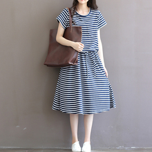 Classic Blue White Striped Cotton Casual Mori Girl Dress 2017 Summer Large Hem Plus Size XXXL Beach Party Women Long Dress(China)