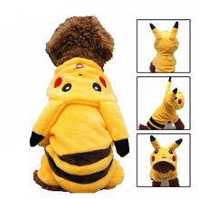 Warm Dog Pet Clothes Fleece Coat Pikachu Costume Cute Puppy Winter Pets Hooded Jacket Pokemon Suit Cartoon Clothing for Dogs 25