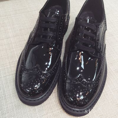 2016 Bullock carved leather lace up shoes round muffin thick soled shoes<br><br>Aliexpress