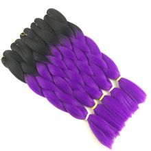 "Luxury For Braiding 10pcs/lot 24"" Black Bright Purple Ombre Two Tone Kanekalon Braiding Hair Synthetic Crochet Jumbo Braids"