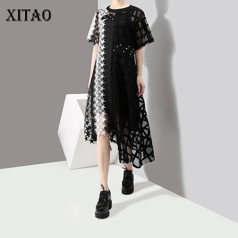 [XITAO] Original Design 2019 Europe Fashion New O-neck Full Sleeve Loose Hollow Out A-line Lace Casual Mid-calf Dress  DLL2144
