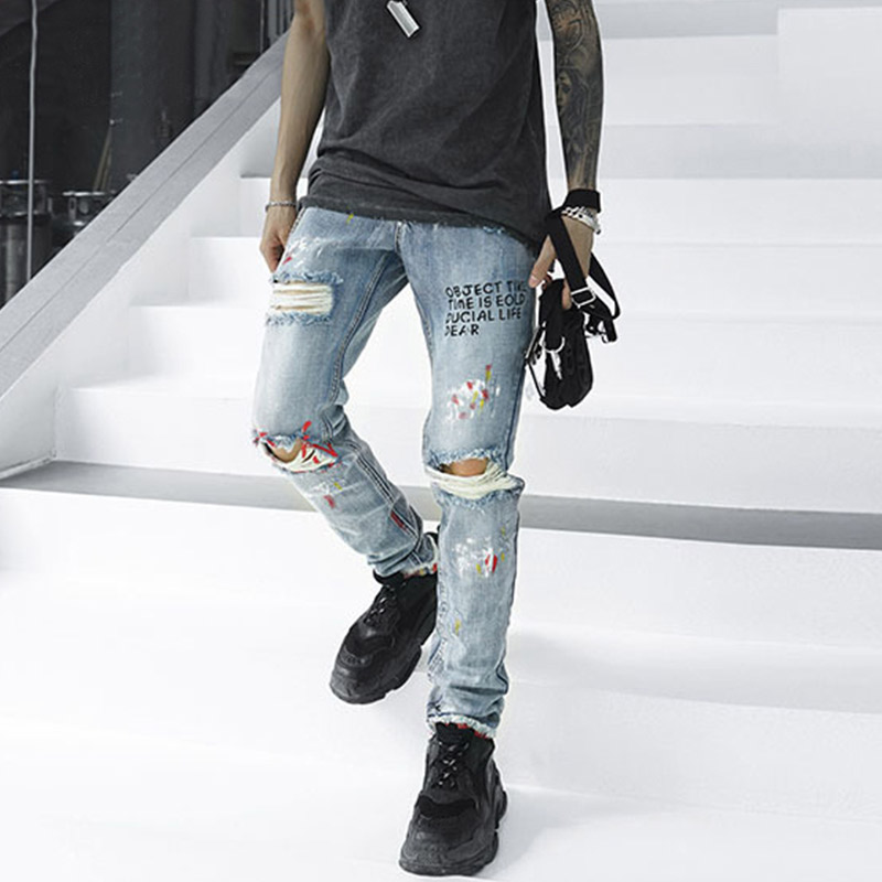 Aolamegs Biker Jeans Men Letter Hole Graffiti Denim Pants Mens Vintage Skinny Jeans Baggy Trousers Boy  Jean Fashion Streetwear
