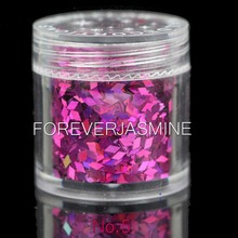 FOREVERJASMINE 10ml Hot Pink Diamond Nail Glitter Rose Red Pink Rhombus Flakes Nail Decoration Charms Laser Manicure Powder No.5