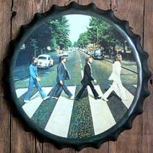 Beatles Rock Band Metal Bottle Cap  Star Music Wall Bar Party Home Decor  Art Painting  Unique Gift 40CM T-7