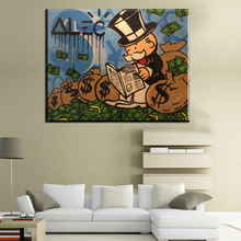 CM106 money Alec monopoly read newspaper Graffiti art handpainted on canvas for wall picture decoration oil painting in living r