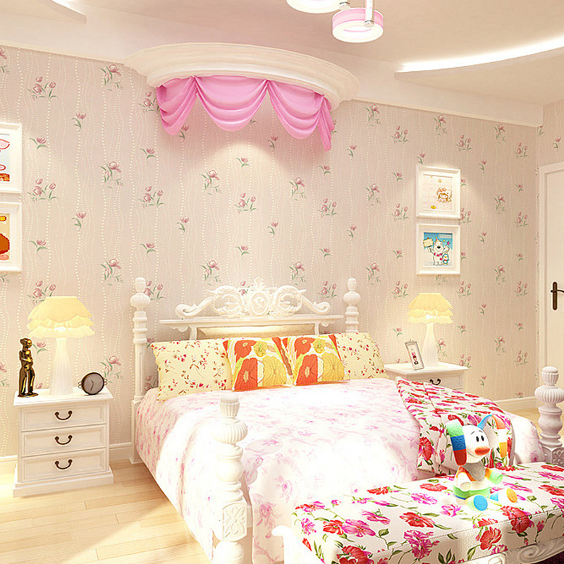 Non Woven flocking wallpaper flower romantic floral for kids bedroom living room home decoration 3D wall paper pink blue beige<br>