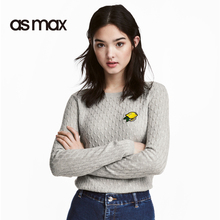asmax 2017 Basic Cotton Flat Knitted Women Sweater Long Sleeve O-neck Casual Slim Female Sweater Solid Color Ladies Sweater