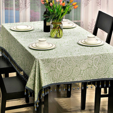 Green Euro Jacquard Texture Luxury Tablecloth for Dinning Tables/English Country Life Romantic Custom Feather Table Cover Sets