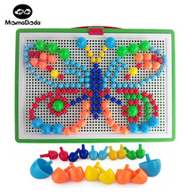 296 Pieces Mushroom Nails Baby DIY 3D Puzzle Toys Plastic Early Educational Toys Creative Mosaic Kit Interactive Plaything