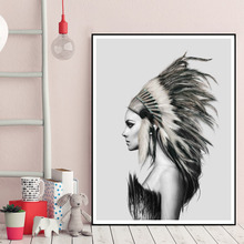 Indians Women Feather Art Canvas Poster Painting Black White Abstract Minimalist Modern Home Decor Picture No Frame