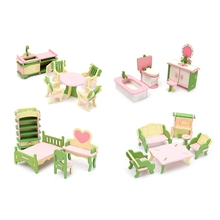 Cute Wooden Miniature Room Furniture Set Ornaments Figurines Dolls House Kids Pretend Play Toys Gifts Home Decoration Crafts