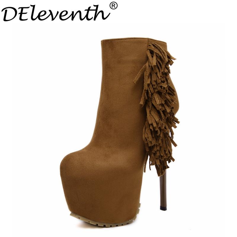 2017 Fashion Sexy High Heels Zip High Platfotm Boots Tassels Solid Suede Leather Round Toe Shoes Women Evening Party<br><br>Aliexpress