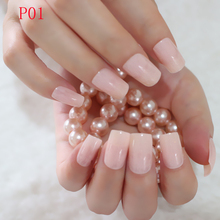 24Pcs Flat Fake Nails Tips Clear Light Natural False Nails Lady Finger Nails DIY Makeup Carnival Style P01L(China)