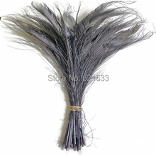 100Pcs/Lot!12-16inches 30-40cm SILVER GREY BLEACHED Peacock Swords Cut Feathers,Gray Peacock Feathers for Wedding diy Decoration(China)