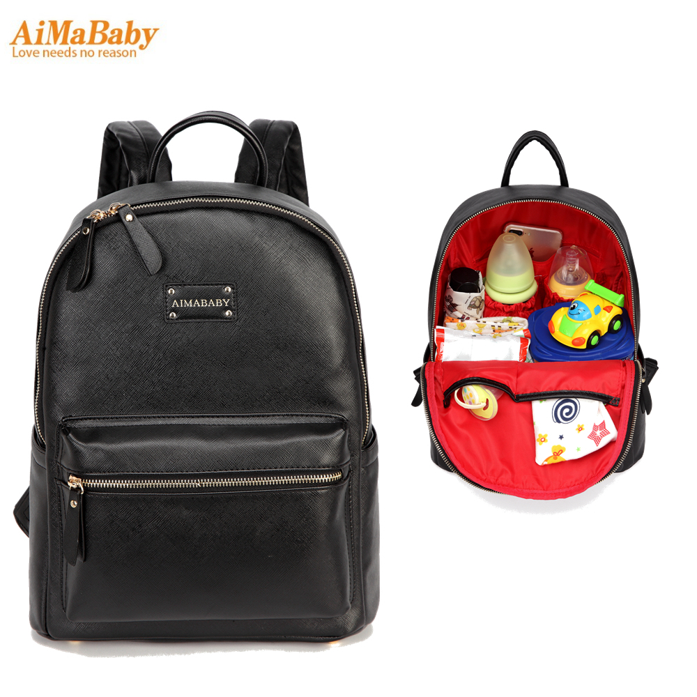 Brand PU Leather Baby Care Nappy Changing Mother Maternity Diaper Tote Bag Organizer Bags Mom Backpack mochila bolsa maternidade<br>