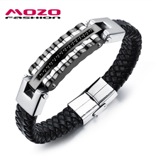 MOZO FASHION Men Punk Jewelry Black / Gold Synthetic Leather Bracelet Braided Rope Chain Stainless Steel Cool Bracelets MPH993