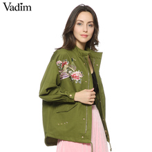 women army green floral embroidery bomber jacket patched rivet design loose flight jackets casual coat punk outwear capa CT1285(China)