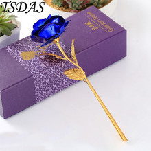 24k Gold Plated Rose in Blue Color, Valentine's Day Gifts 25*8CM Gold Dipped Rose With Gift Box