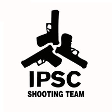 19*25CM IPSC SHOOTING TEAM Cool Car Window Stickers Car Stickers Shooting Union Black Silver CT-426