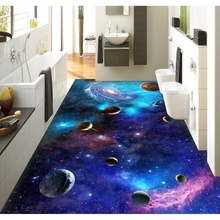 3D pvc flooring custom wall sticker Star Galaxy 3D universe 3D bathroom flooring painting photo wallpaper for walls 3d