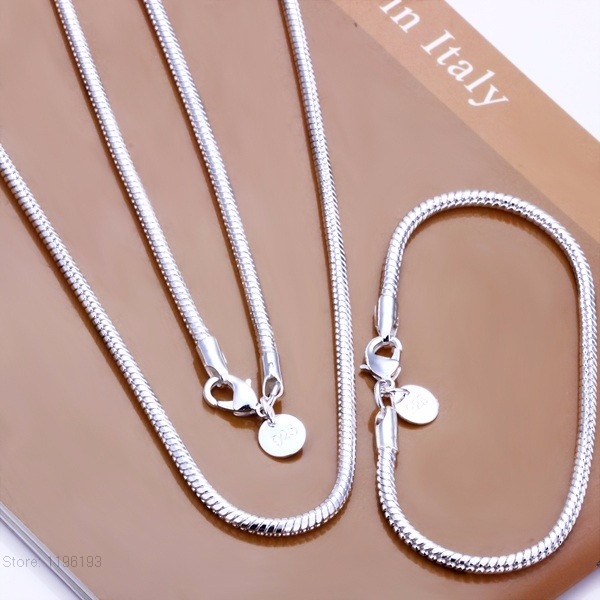 Lose-money-promotion-Jewelry-Set-S076-Silver-Snake-Chain-Herringbone-Jewellery-with-Bracelet-and-Necklace-20