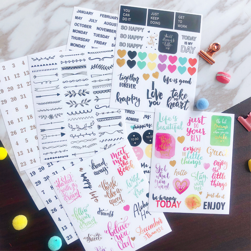 Lovedoki Hand Made Stickers For Dokibook Notebook Watercolor Alphabet Number Sticker Korean Cute Scrapbook Stickers Stationery