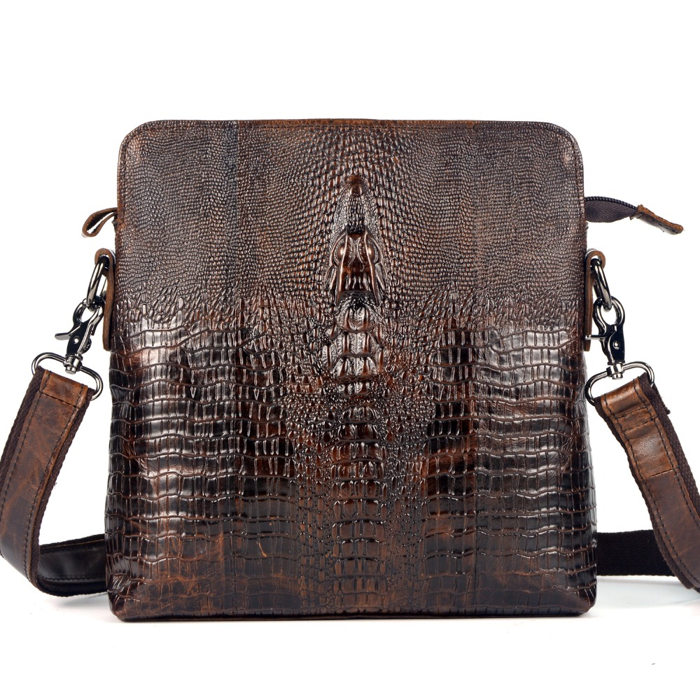 First Layer Cow Skin Genuine Leather Bag For Men Crocodile Style Mens Business Messenger Bag<br>