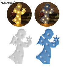 3D Marquee Angel Table Lamp 9 LED Battery Operated Night Light Children's Room Decor