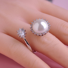 Madrry Squisito Sunflower Ring Big Simulated Pearl Bead Masculino Anillo Mujer Finger Aros Wedding Party Tanabata Zircon Joyas