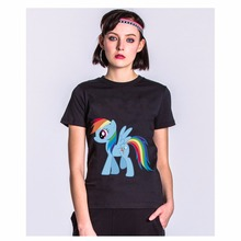 (Harajuku Women T Shirt) 2017 Mike'S Women T Shirt Rainbow Pink Floyd Kawaii Unicorn Summer Tops Drop Clothing Fashion T-Shirt