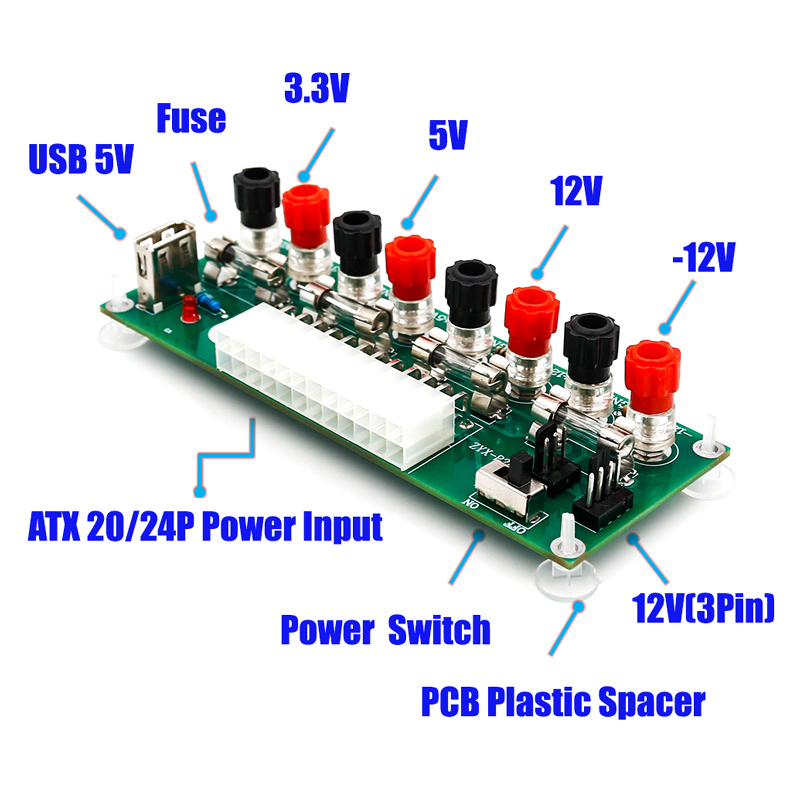 electric circuit 20 24 pins atx benchtop power board computer power1 x atx 24pin power breakout adapter please check pictures for more details