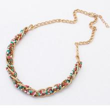New Fashion Bohemian Necklace resin Beads Necklaces Women Multi Layer Statement party Jewelry blue bead gold plate chain woman(China)