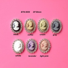 Free shipping 20*25mm oval cameo rhinestone button flatback can choose colors 10PCS/lot(BTN-5659)(China)