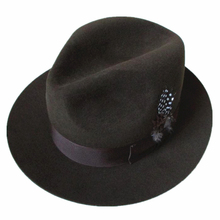 Classic Luxury Angora Wool Fedora Hat -Dark Grey