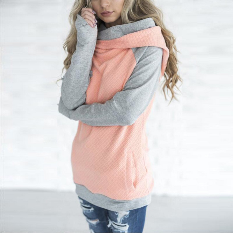New Double Hood Sweatshirt, Women's Long Sleeve, Side Zipper Hooded Casual Pullover 3