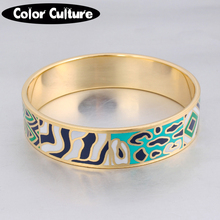 French Pop Jewelry 16mm Width Big Bracelet Vintage Steel Enamel Bracelet Bangles for Women Birthday Gift