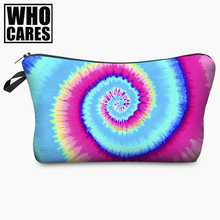 Tie Dye Petrol Rainbow 3D Print Cosmetic Bag Brands Women Makeup Organizer Toiletry with Zipper Neceser Trousse Maquillage Femme(China)