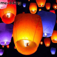 MEIDDING 5pcs 14inch Multicolor Paper Chinese Lanterns Fire Sky Flying Paper Candle Wish Lamp for Birthday Wish Party Supplies