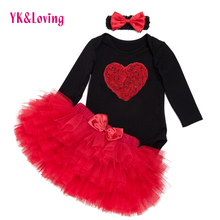 Festival baby Clothing Set Long Sleeve Red Heart Black Baby Rompers 4 layer tutu Skirt Dot Headband Cute Girls Valentine'Day Set(China)