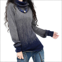 Women's Autumn Winter Cashmere Turtleneck Sweaters And Pullovers Artkas Women Vintage Gradient Knitted Sweater Lady Warm Jumpers
