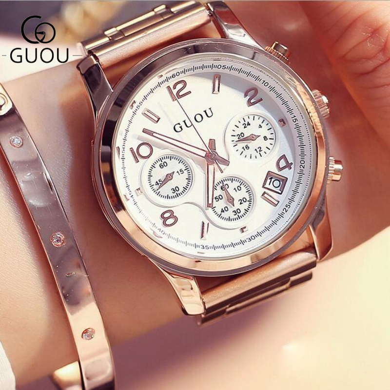 GUOU Watch Women Luxury Rose Gold Ladies Watch Auto Date Full Steel Quartz Watch Wristwatch fashion reloj mujer relogio feminino<br>
